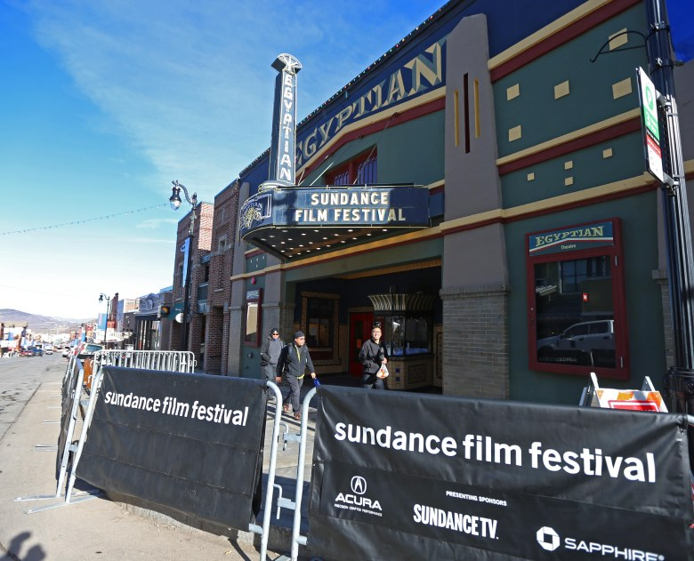 People walks past the Egyptian Theater on Old Main Street as preparation proceed for the start 2018 Sundance Film Festival in Park City, Utah, USA, 17 January 2018. The festival runs from 18 to 28 of January.Preparation for the 2018 Sundance Film Festival, Park City, Usa - 17 Jan 2018