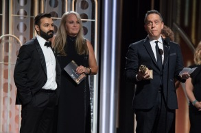 """Accepting the Golden Globe for BEST ANIMATED FEATURE FILM for """"Coco"""" is Lee Unkrich at the 75th Annual Golden Globe Awards at the Beverly Hilton in Beverly Hills, CA on Sunday, January 7, 2018."""