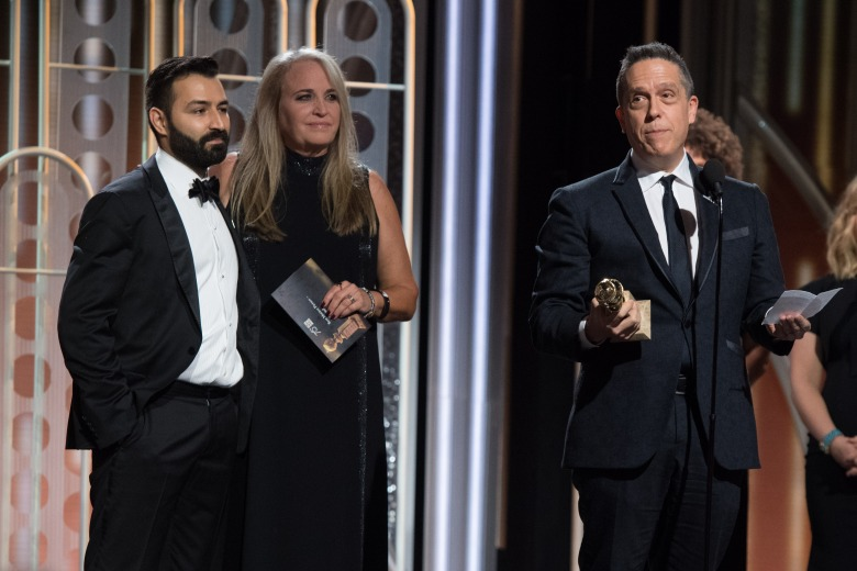 "Accepting the Golden Globe for BEST ANIMATED FEATURE FILM for ""Coco"" is Lee Unkrich at the 75th Annual Golden Globe Awards at the Beverly Hilton in Beverly Hills, CA on Sunday, January 7, 2018."