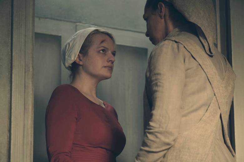"""The Handmaid's Tale  -- """"Night"""" -- Episode 110 -- Serena Joy confronts Offred and the Commander. Offred struggles with a complicated, life-changing revelation. The Handmaids face a brutal decision. Offred (Elisabeth Moss), shown. (Photo by: George Kraychyk/Hulu)"""
