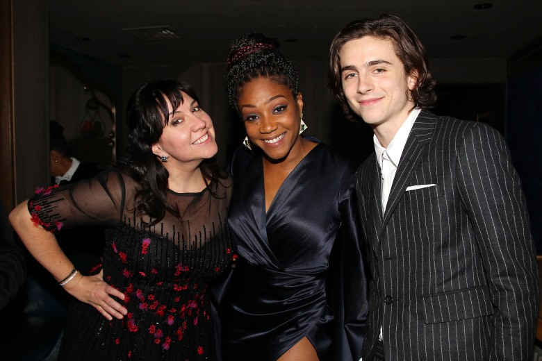 - New York, NY - 1/3/18 - New York Film Critics' Circle Awards 2017.-Pictured: Kristen Anderson-Lopez, Tiffany Haddish and Timothée Chalamet-Photo by: Kristina Bumphrey/StarPix-Location: Tao Downtown