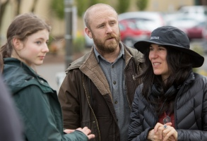 "Debra Granik on the set of ""Leave No Trace"""