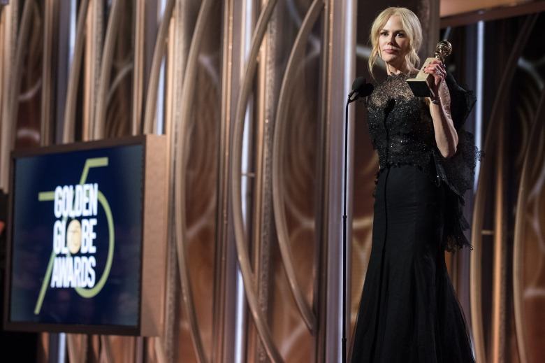 "Nicole Kidman accepts the Golden Globe Award for BEST PERFORMANCE BY AN ACTRESS IN A LIMITED SERIES OR A MOTION PICTURE MADE FOR TELEVISION for her role in ""Big Little Lies"" at the 75th Annual Golden Globe Awards at the Beverly Hilton in Beverly Hills, CA on Sunday, January 7, 2018."