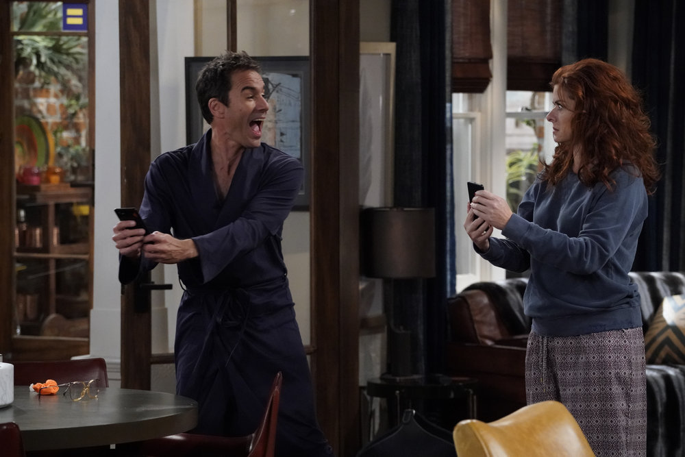 "WILL & GRACE -- ""Friends & Lover"" Episode 104 -- Pictured: (l-r) Eric McCormack as Will Truman, Debra Messing as Grace Adler -- (Photo by: Chris Haston/NBC)"