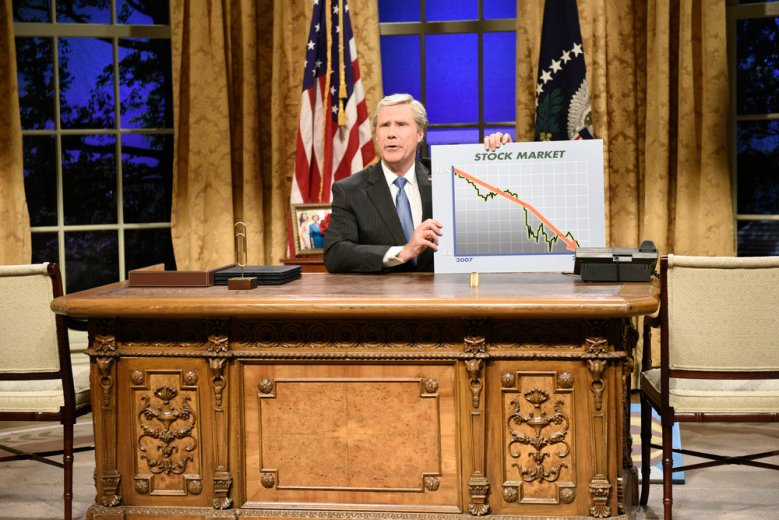 "SATURDAY NIGHT LIVE -- ""Will Ferrell"" Episode 1737 -- Pictured: Will Ferrell as George W. Bush during the ""Cold Open"" in Studio 8H on Saturday, January 27, 2018 -- (Photo by: Will Heath/NBC)"