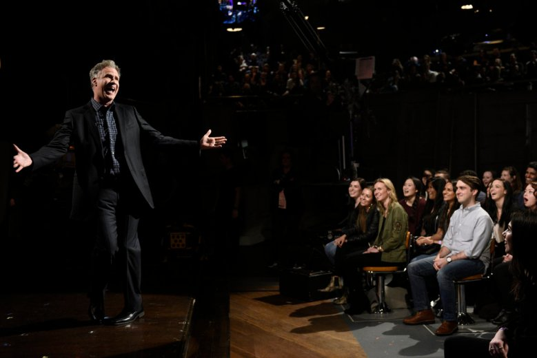 "SATURDAY NIGHT LIVE -- ""Will Ferrell"" Episode 1737 -- Pictured: Will Ferrell during the opening monologue in Studio 8H on Saturday, January 27, 2018 -- (Photo by: Will Heath/NBC)"