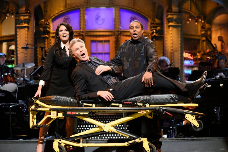 "SATURDAY NIGHT LIVE -- ""Will Ferrell"" Episode 1737 -- Pictured: (l-r) Cecily Strong, Will Ferrell, Kenan Thompson during the opening monologue in Studio 8H on Saturday, January 27, 2018 -- (Photo by: Will Heath/NBC)"