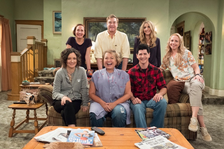 "ROSEANNE - ""Roseanne,"" the timeless sitcom that broke new ground and dominated ratings in its original run, will return to ABC with all-new episodes, in a special hour-long premiere, TUESDAY, MARCH 27 (8:00-9:00 p.m. EDT). ""Roseanne"" will air in its regular time slot, 8:00-8:30 p.m., beginning TUESDAY, APRIL 3. (ABC/Adam Rose)SARA GILBERT, LAURIE METCAF, ROSEANNE BARR, JOHN GOODMAN, MICHAEL FISHMAN, SARAH CHALKE, ALICIA GORANSON"