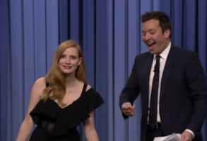 Jessica Chastain and Jimmy Fallon