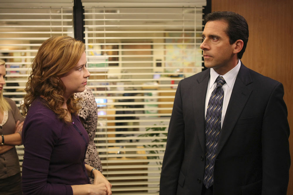 No Merchandising. Editorial Use Only. No Book Cover Usage. Mandatory Credit: Photo by Justin Lubin/NBC-TV/Kobal/REX/Shutterstock (5886251aw) Jenna Fischer, Steve Carell The Office - 2005 NBC-TV USA Television Documentary