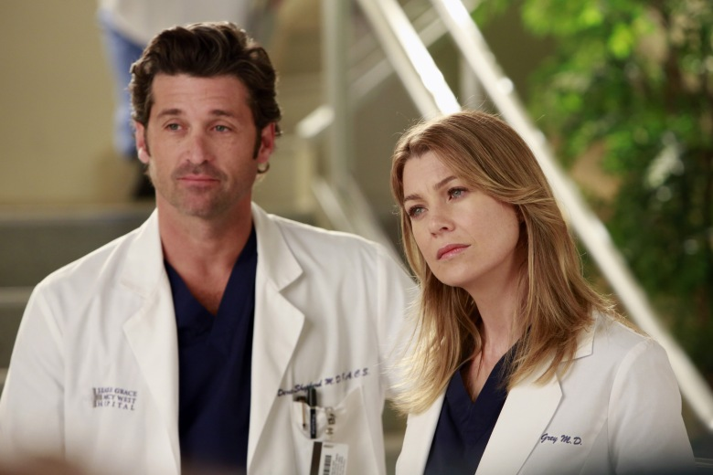 No Merchandising. Editorial Use Only. No Book Cover Usage. Mandatory Credit: Photo by ABC-TV/Kobal/REX/Shutterstock (5886266ah) Patrick Dempsey, Ellen Pompeo Grey's Anatomy - 2005 ABC-TV USA Television
