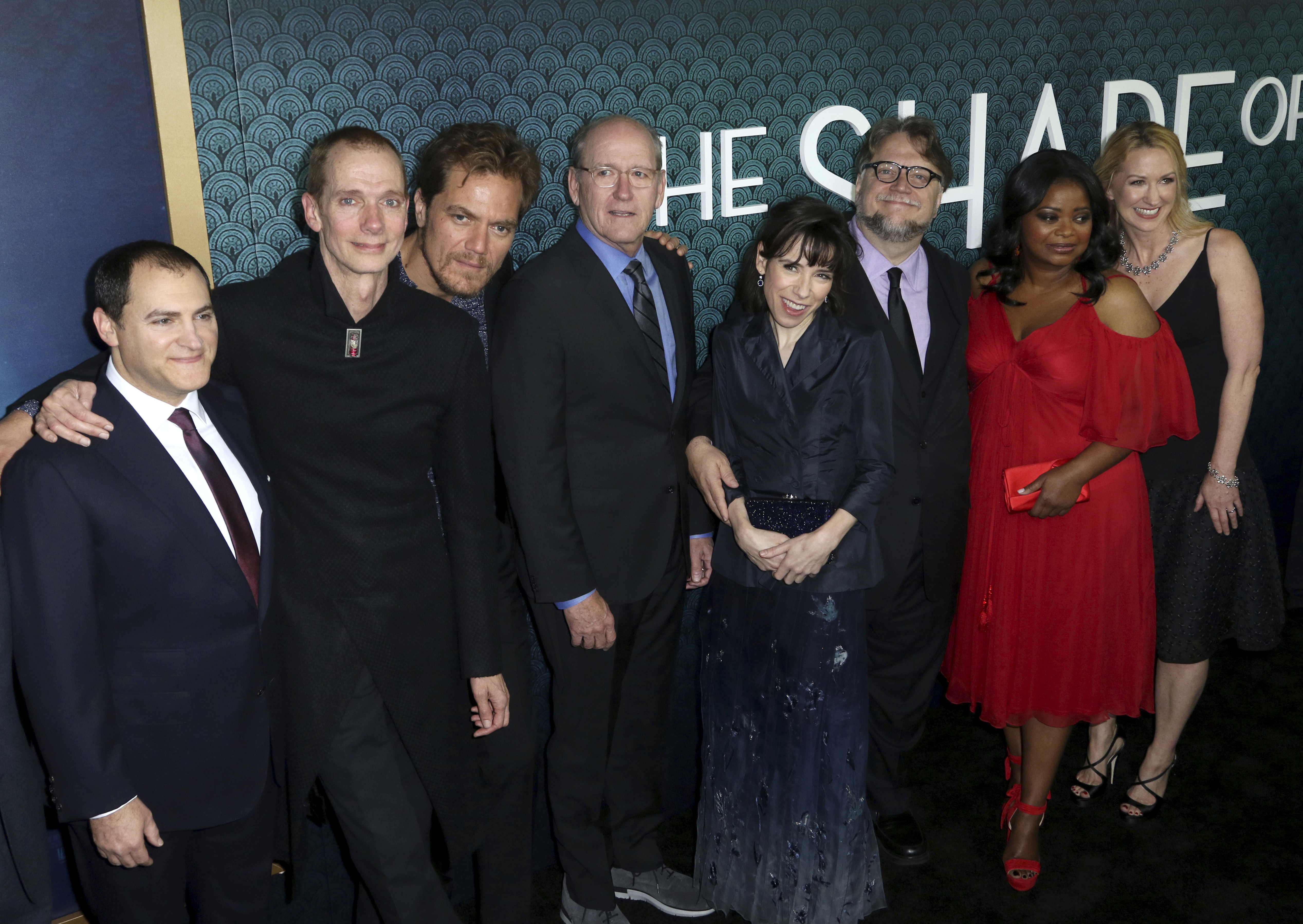 "Michael Stuhlbarg, Doug Jones, Michael Shannon, Richard Jenkins, Sally Hawkins, Guillermo del Toro, Octavia Spencer, Vanessa Taylor. Michael Stuhlbarg, from left, Doug Jones, Michael Shannon, Richard Jenkins, Sally Hawkins, director Guillermo del Toro, Octavia Spencer and screenwriter Vanessa Taylor arrive at the LA Premiere of ""The Shape of Water"" at the Academy of Motion Picture Arts and Sciences, in Beverly Hills, CalifLA Premiere of ""The Shape of Water"", Beverly Hills, USA - 15 Nov 2017"