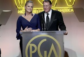 Presidents of the Producers Guild of America, Lori McCreary, left, and Gary Lucchesi speak at the 28th Annual Producers Guild Awards at the Beverly Hilton, in Beverly Hills, Calif28th Annual Producers Guild Awards - Inside, Beverly Hills, USA - 28 Jan 2017