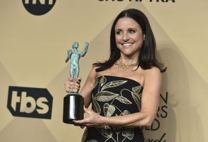"""Julia Louis-Dreyfus poses in the press room with the award for outstanding performance by a female actor in a comedy series for """"Veep"""" at the 23rd annual Screen Actors Guild Awards at the Shrine Auditorium & Expo Hall, in Los AngelesThe 23rd Annual SAG Awards - Press Room, Los Angeles, USA - 29 Jan 2017"""