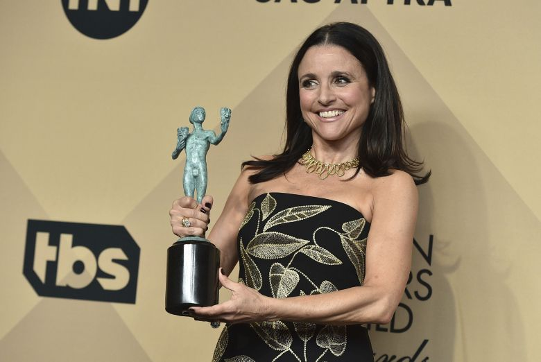 "Julia Louis-Dreyfus poses in the press room with the award for outstanding performance by a female actor in a comedy series for ""Veep"" at the 23rd annual Screen Actors Guild Awards at the Shrine Auditorium & Expo Hall, in Los AngelesThe 23rd Annual SAG Awards - Press Room, Los Angeles, USA - 29 Jan 2017"