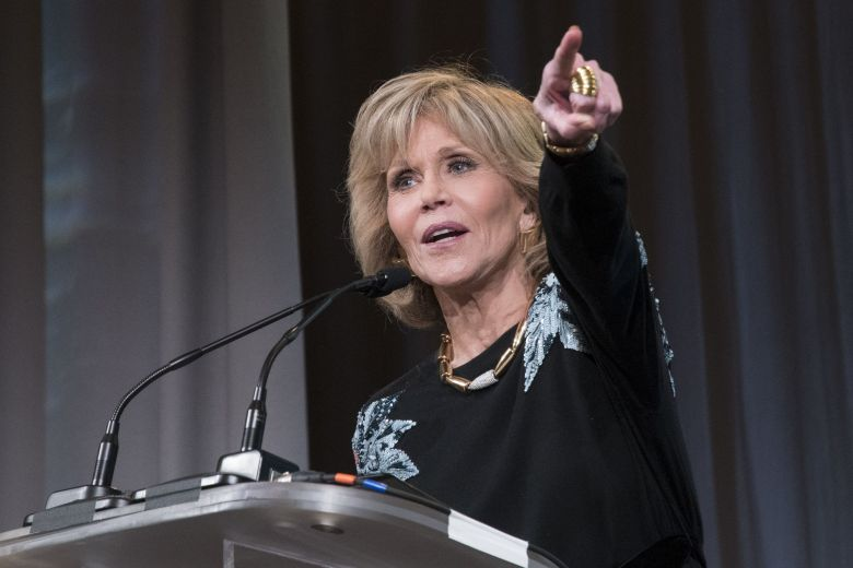 Actor Jane Fonda speaks during the