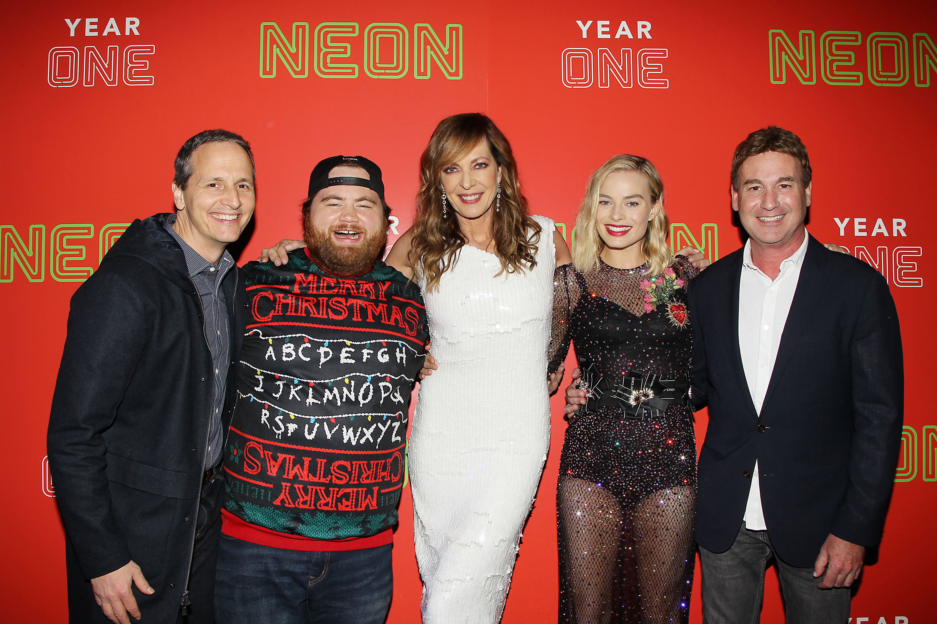 Tom Quinn, Paul Walter Hauser, Allison Janney, Margot Robbie and Steven RogersThe First Annual Neon Holiday Party Hosted by Margot Robbie and Allison Janney, New York, USA - 12 Dec 2017