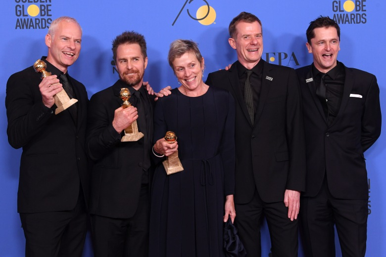Martin McDonagh, Sam Rockwell, Frances McDormand, Pete Czernin and Graham Broadbent - Best Motion Picture, Drama - 'Three Billboards Outside Ebbing, Missouri'75th Annual Golden Globe Awards, Press Room, Los Angeles, USA - 07 Jan 2018