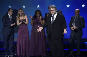 "Guillermo del Toro and the cast and crew of ""The Shape of Water"" accept the award for best picture at the 23rd annual Critics' Choice Awards at the Barker Hangar, in Santa Monica, Calif23rd Annual Critics' Choice Awards - Show, Santa Monica, USA - 11 Jan 2018"