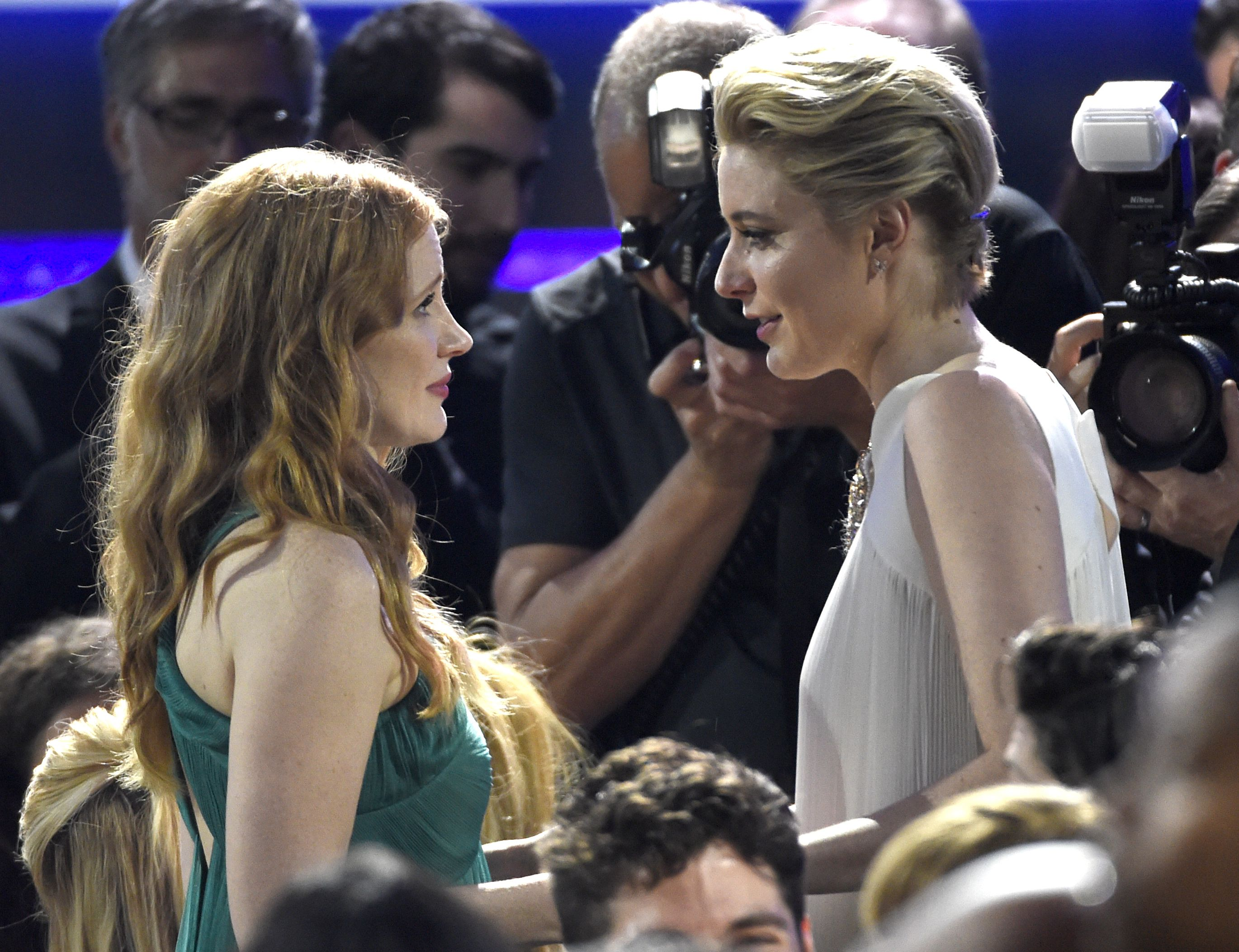 Jessica Chastain, Greta Gerwig. Jessica Chastain, left, and Greta Gerwig speak in the audience at the 23rd annual Critics' Choice Awards at the Barker Hangar, in Santa Monica, Calif23rd Annual Critics' Choice Awards - Show, Santa Monica, USA - 11 Jan 2018