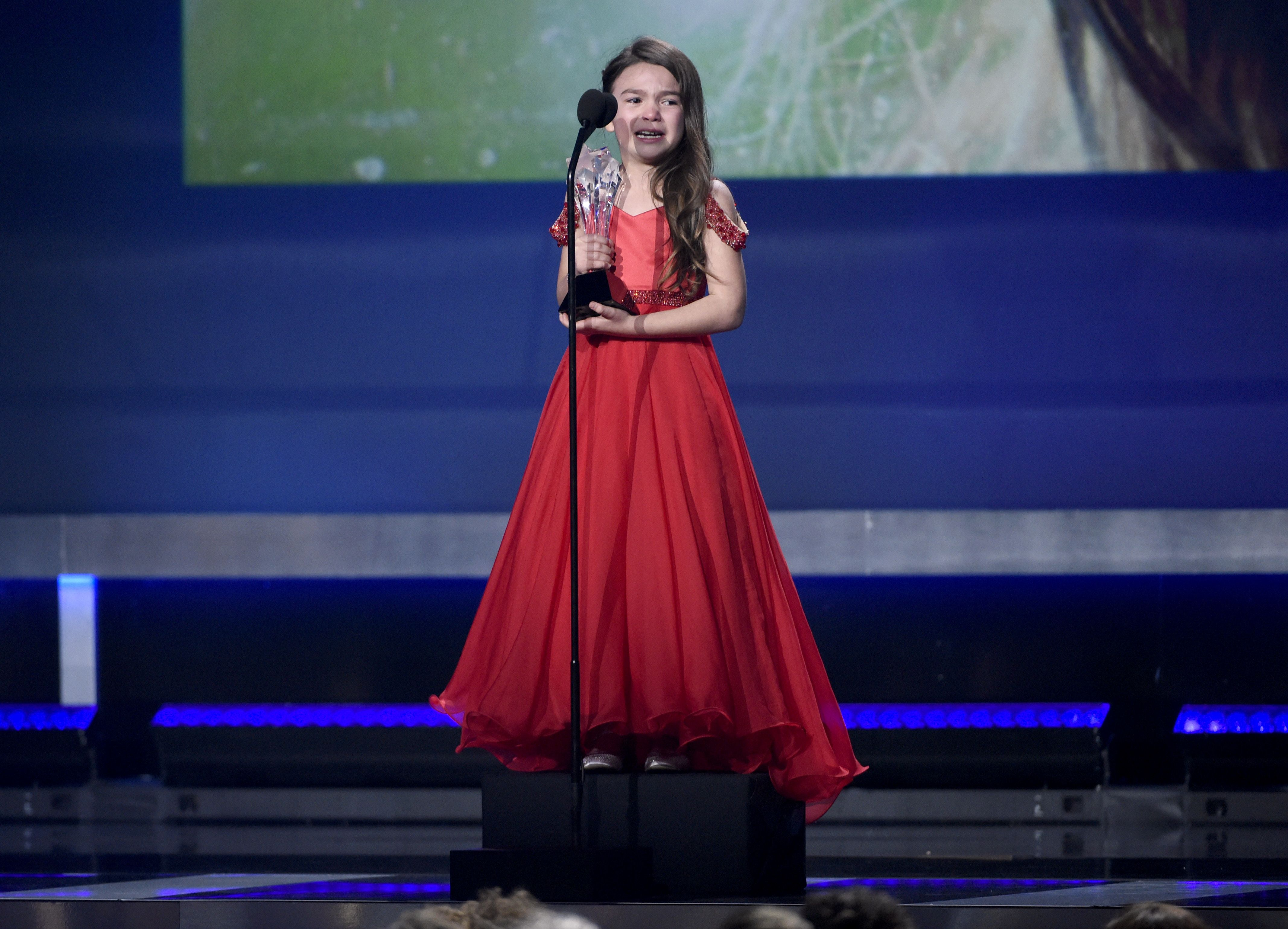 "Brooklyn Prince accepts the award for best young actor/actress for ""The Florida Project"" at the 23rd annual Critics' Choice Awards at the Barker Hangar, in Santa Monica, Calif23rd Annual Critics' Choice Awards - Show, Santa Monica, USA - 11 Jan 2018"