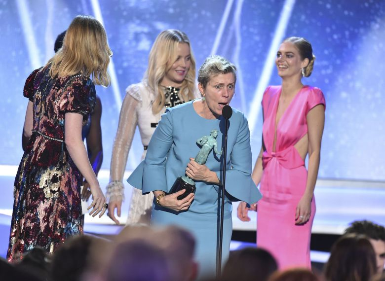 """Frances McDormand and the cast of """"Three Billboards Outside Ebbing, Missouri"""" accept the award for outstanding performance by a cast in a motion picture at the 24th annual Screen Actors Guild Awards at the Shrine Auditorium & Expo Hall, in Los Angeles24th Annual SAG Awards - Show, Los Angeles, USA - 21 Jan 2018"""