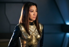 """The War Without, the War Within"" -- Episode 114 -- Pictured:  Michelle Yeoh as Philippa Georgiou of the CBS All Access series STAR TREK: DISCOVERY. Photo Cr: Jan Thijs/CBS © 2017 CBS Interactive. All Rights Reserved."