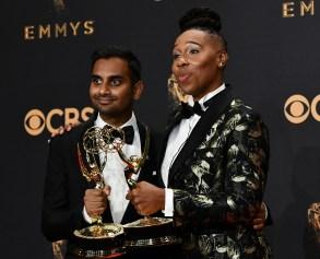 Aziz Ansari and Lena Waithe - Writing for a Comedy Series - Master of None69th Primetime Emmy Awards, Press Room, Los Angeles, USA - 17 Sep 2017
