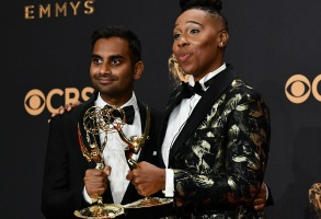 Aziz Ansari and Lena Waithe - Writing for a Comedy Series - Master of None69th Primetime Emmy Awards, Press Room, Los Angeles, USA - 17 Sep 2017