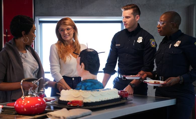 """9-1-1: L-R: Angela Bassett, Connie Britton, Oliver Stark and Aisha Hinds in the all-new """"Heartbreaker"""" episode of 9-1-1 airing Wednesday, Feb. 7 (9:00-10:00 PM ET/PT) on FOX. CR: FOX. © 2018 FOX Broadcasting."""