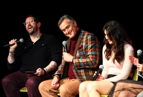 ATLANTA, GA - FEBRUARY 02:  (L-R) Damian Holbrook, Bruce Campbell,  and Arielle Carver-O'Neill speak onstage during a screening and Q&A for 'Ash vs Evil Dead'' on Day 2 of the SCAD aTVfest 2018 on February 2, 2018 in Atlanta, Georgia.  (Photo by Astrid Stawiarz/Getty Images for SCAD aTVfest 2018 )