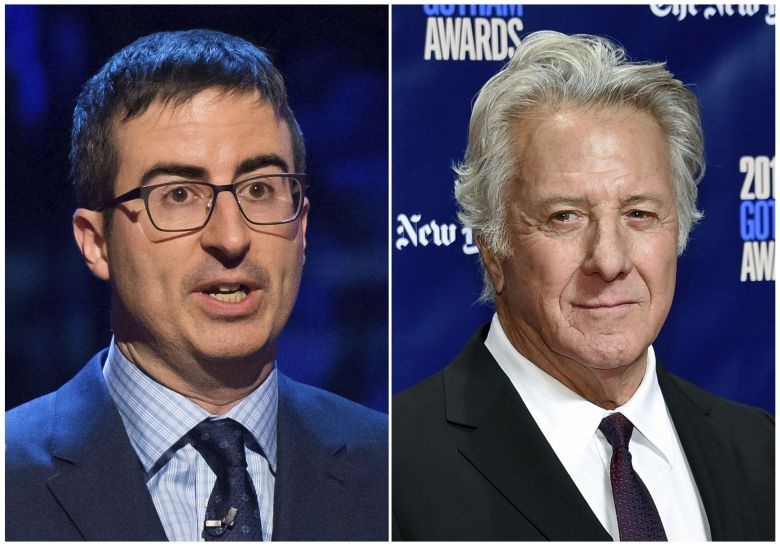 "In this combination photo, John Oliver appears at the Stand Up for Heroes event in New York, left, and actor Dustin Hoffman attends the 27th annual Independent Film Project's Gotham Awards in New York on Nov. 27, 2017. Oliver confronted Hoffman about allegations of sexual harassment during a 20th-anniversary screening panel for the film ""Wag the Dog"" at the 92nd Street Y in New YorkPeople-Oliver-Hoffman, New York, USA - 28 Feb 2015"