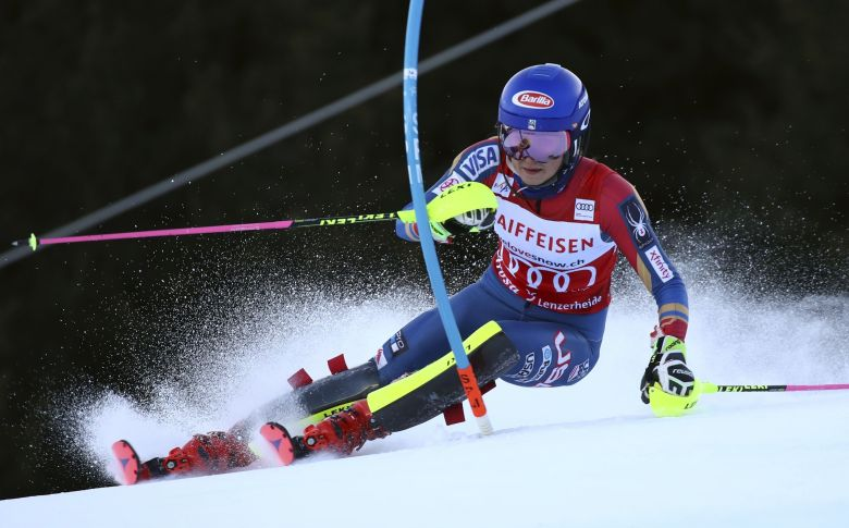 United States' Mikaela Shiffrin speeds down the course during the first run of an alpine ski, women's World Cup slalom, in Lenzerheide, SwitzerlandAlpine Skiing World Cup, Lenzerheide, Switzerland - 28 Jan 2018