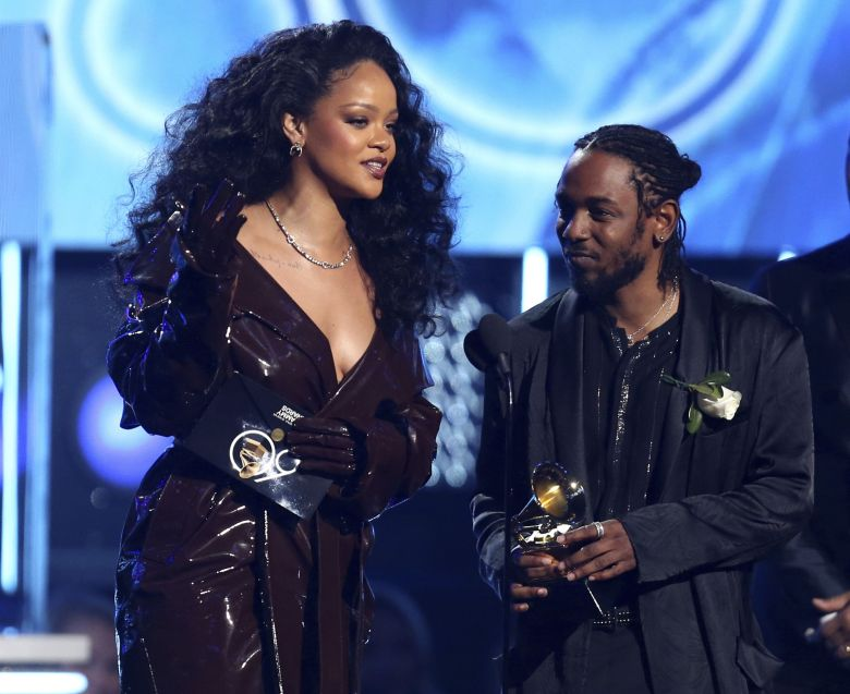 "Rihanna, Kendrick Lamar. Rihanna, left, and Kendrick Lamar accept the award for best rap/sung performance for ""Loyalty."" at the 60th annual Grammy Awards at Madison Square Garden, in New York60th Annual Grammy Awards - Show, New York, USA - 28 Jan 2018"