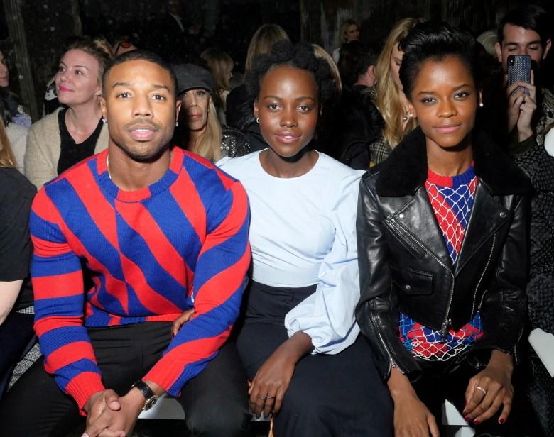 Michael B. Jordan, Lupita Nyong'o and Letitia Wright in the front rowCalvin Klein show, Front Row, Fall Winter 2018, New York Fashion Week, USA - 13 Feb 2018