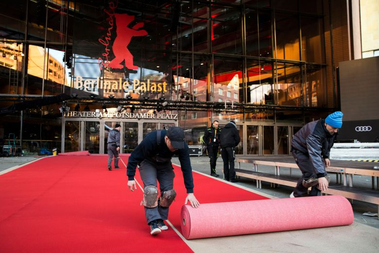 Workers lay the red carpet during preparations to the 68th Berlin International Film Festival (Berlinale) in front of the festival palace near Potsdamer Platz in Berlin, Germany, 13 February 2018. The 'Berlinale' will run from 15 to 25 February 2018.Preparations - 68th Berlin Film Festival, Germany - 13 Feb 2018