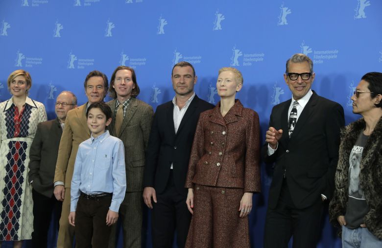 Greta Gerwig, Bob Balaban, Bryan Cranston, Koyu Rankin, Wes Anderson, Liev Schreiber, Tilda Swinton, Jeff Goldblum and Kunichi Nomura, from left, pose for a photograph during a photo-call for the movie 'Isle of Dogs' during the 68th edition of the Berlinale Berlin Film Festival in Berlin, GermanyFilm Festival, Berlin, Germany - 15 Feb 2018