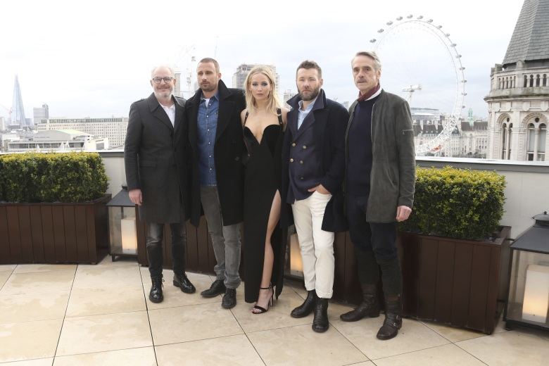 Jennifer Lawrence, Joel Edgerton, Jeremy Irons, Matthias Schoenaerts, Francis Lawrence. Actors Jeremy Irons, from right, Joel Edgerton, Jennifer Lawrence, Matthias Schoenaerts and director Francis Lawrence pose for photographers at the photo call for the film 'Red Sparrow' in LondonBritain Red Sparrow Photo Call, London, United Kingdom - 20 Feb 2018