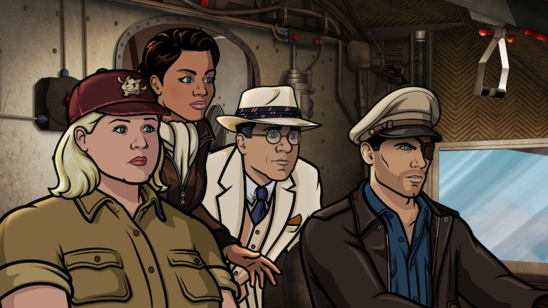 ARCHER Danger Island Season 9, Episode 1 -- Pictured (l-r): Pam Poovey (voice of Amber Nash), Princess Lanaluakalani (voice of Aisha Tyler), Siegbert Fuchs (voice of Chris Parnell), Sterling Archer (voice of H. Jon Benjamin)