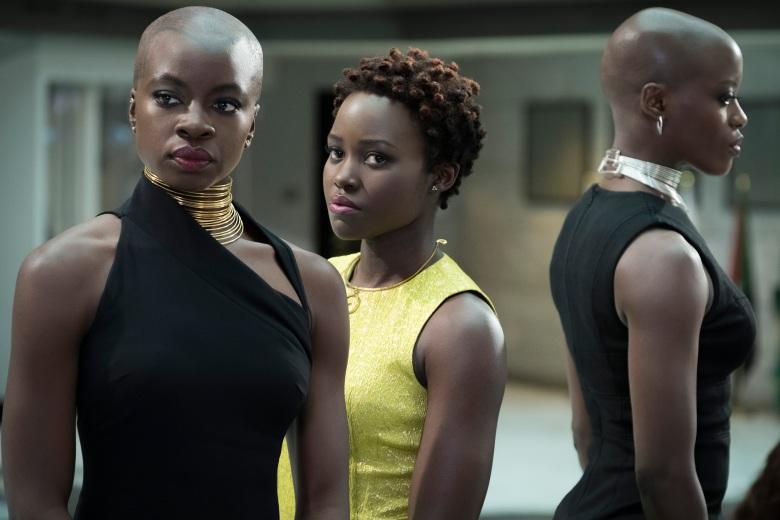 Marvel Studios' BLACK PANTHER..L to R: Okoye (Danai Gurira), Nakia (Lupita Nyong'o) and Ayo (Florence Kasumba)..Photo: Matt Kennedy..©Marvel Studios 2018