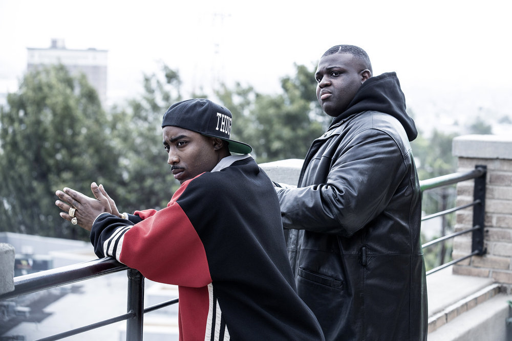"""UNSOLVED -- Episode 103 -- Pictured: (l-r) Marcc Rose as Tupac Shakur, Wavyy Jonez as Christopher """"Biggie"""" Wallace -- (Photo by: Isabella Vosmikova/USA Network)"""