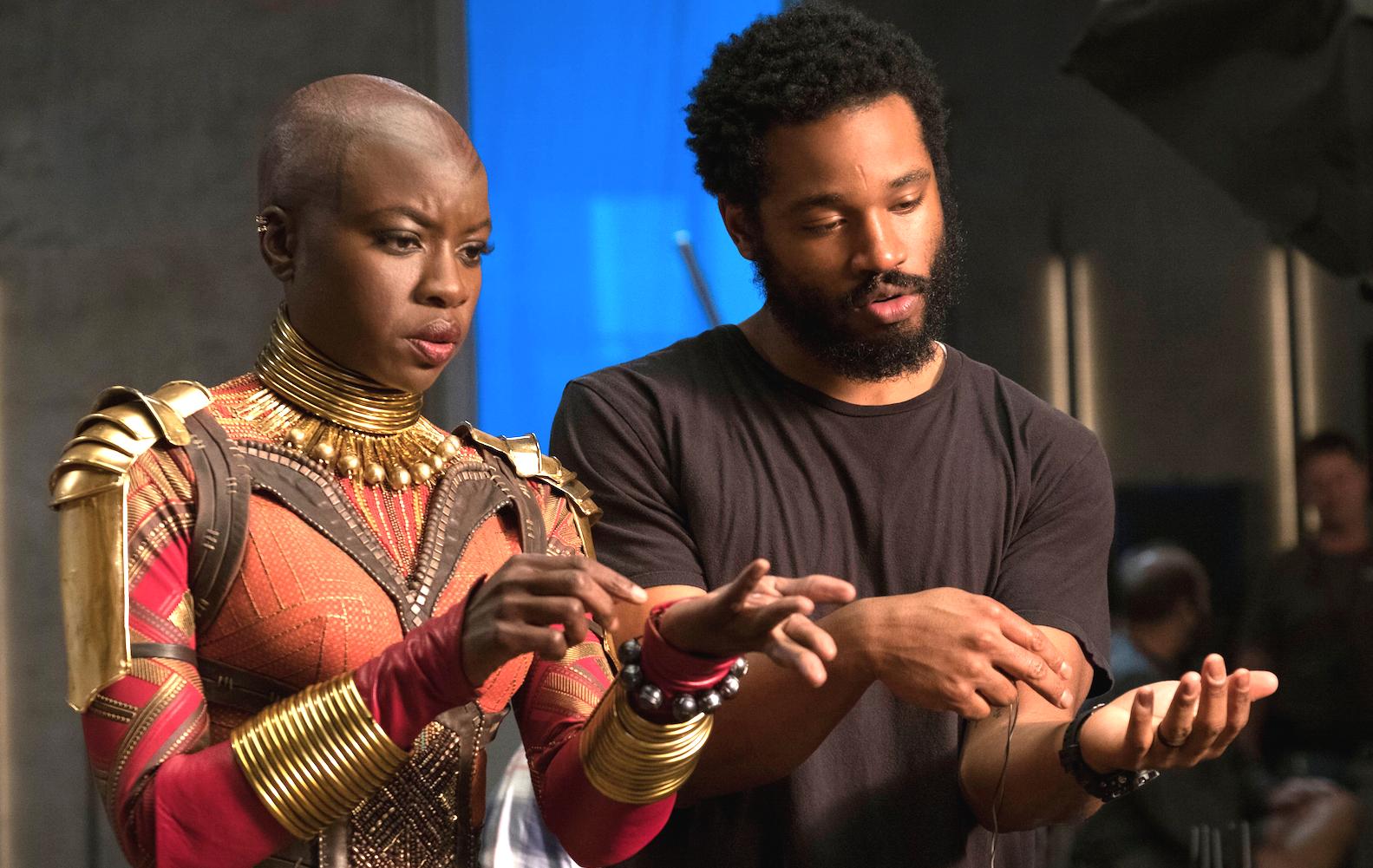 Ryan Coogler Directs Danai Gurira On The Set Of Black Panther.