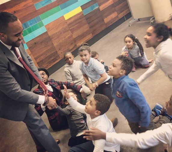 Frederick Joseph with kids from The Boys & Girls Club in Harlem