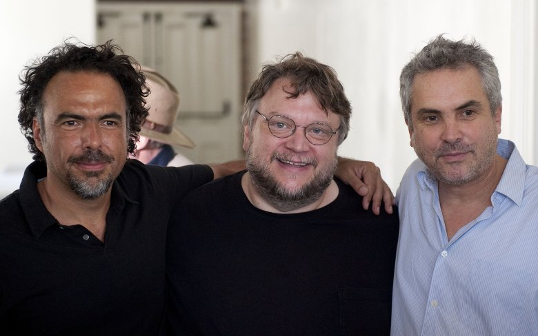 Alejandro González Iñárritu, Guillermo del Toro, Alfonso Cuarón Directors Alejandro González Iñárritu, left, Guillermo del Toro, middle, and Alfonso Cuarón, right, pose for photos before a press conference held by the Caravan for Peace, in Los Angeles on . The caravan is traveling across the country to promote the alliance of the US and Mexico to fight the drug warDrug Caravan, Los Angeles, USA