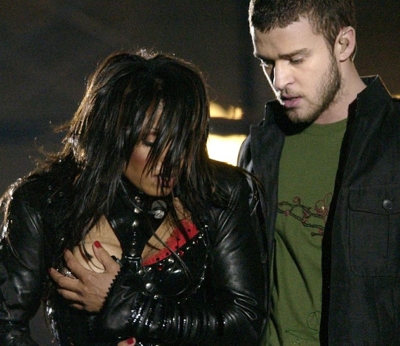 Janet Jackson Justin Timberlake Entertainer Janet Jackson, left, covers her breast after her outfit came undone during the half time performance with Justin Timberlake at Super Bowl XXXVIII in Houston. Sony Electronics and the Nielsen television research company collaborated on a survey ranking TV's most memorable moments. Other TV events include, the Sept. 11 attacks in 2001, Hurricane Katrina in 2005, the O.J. Simpson murder trial verdict in 1995 and the death of Osama bin Laden in 2011TV Memorable Moments, HOUSTON, USA