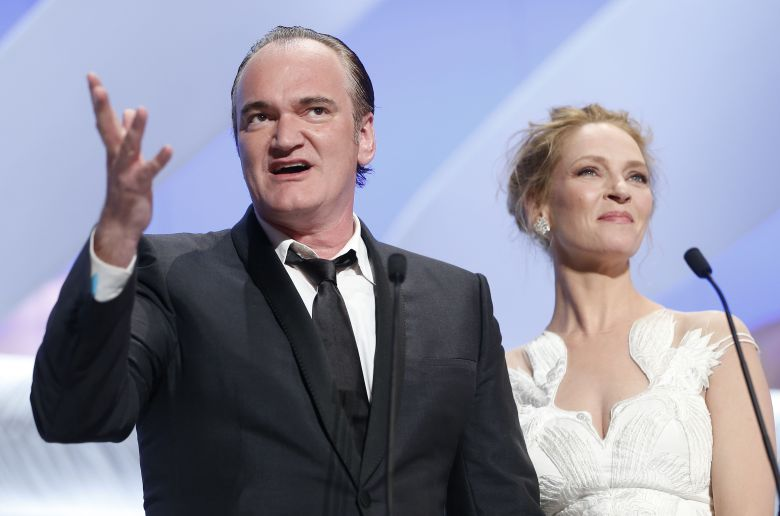 Us Actress Uma Thurman (r) and Us Director Quentin Tarantino (l) Deliver a Speech During the Closing Award Ceremony of the 67th Cannes Film Festival in Cannes France 24 May 2014 France CannesFrance Cannes Film Festival 2014 - May 2014