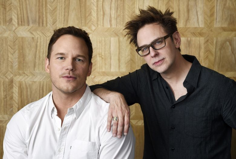 "Chris Pratt, left, a cast member in ""Guardians of the Galaxy Vol. 2,"" and the film's writer/director James Gunn pose together at the London West Hollywood Hotel in West Hollywood, Calif. The film opens May 5""Guardians of the Galaxy Vol. 2"" Portrait Session, West Hollywood, USA - 20 Apr 2017"