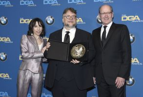 "Sally Hawkins, Richard Jenkins, Guillermo del Toro. Sally Hawkins, left, and Richard Jenkins, right, pose with Guillermo del Toro and a plaque honoring his nomination for outstanding directorial achievement in a feature film for ""The Shape of Water"" at the 70th annual Directors Guild of America Awards at The Beverly Hilton hotel, in Beverly Hills, CalifAPTOPIX 70th Annual DGA Awards - Press Room, Beverly Hills, USA - 03 Feb 2018"