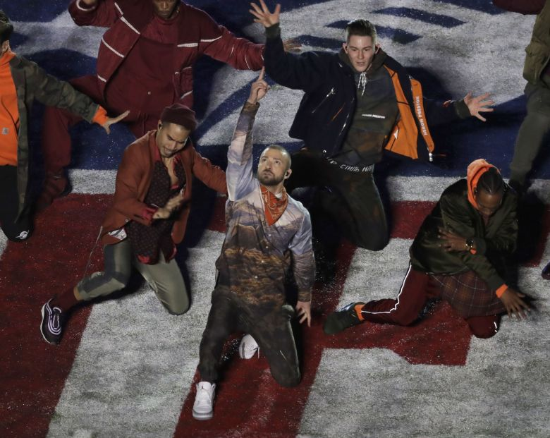 Justin Timberlake performs during halftime of the NFL Super Bowl 52 football game, in MinneapolisEagles Patriots Super Bowl Football, Minneapolis, USA - 04 Feb 2018