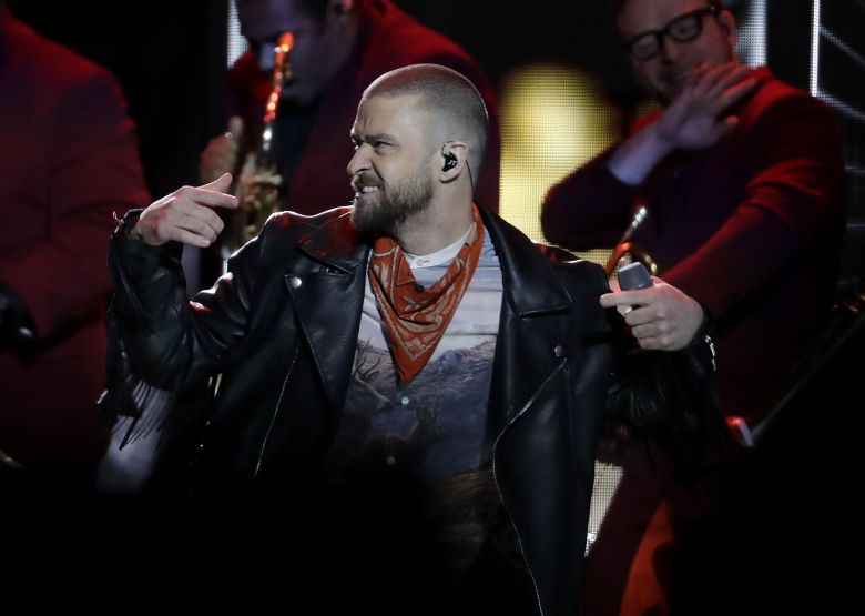 Justin Timberlake performs during halftime of the NFL Super Bowl 52 football game between the Philadelphia Eagles and the New England Patriots, in MinneapolisEagles Patriots Super Bowl Football, Minneapolis, USA - 04 Feb 2018